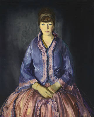 Portrait Of Woman Painting - Emma In The Purple Dress by George Bellows