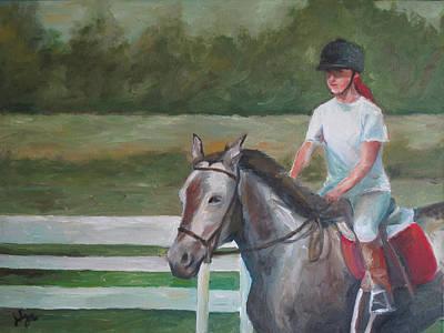 Emma Riding Art Print by Julie Dalton Gourgues