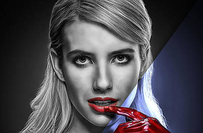 Screaming Mixed Media - Emma Roberts Collection by Marvin Blaine