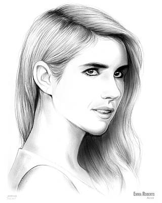 Drawing - Emma Roberts by Greg Joens