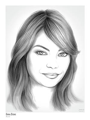Drawings Rights Managed Images - Emma Stone Royalty-Free Image by Greg Joens
