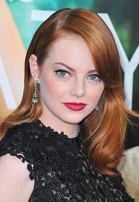 Diamond Earrings Photograph - Emma Stone Wearing Fred Leighton by Everett
