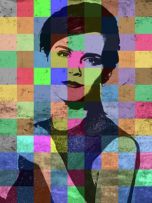 Emma Mixed Media - Emma Watson Pop Art Patchwork Colorful Portrait by Design Turnpike
