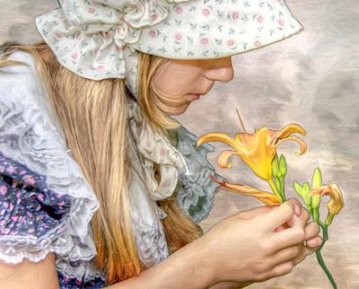Youth Digital Art - Emma With Flower Portrait by Randy Steele