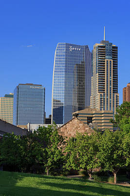 Denver Skyline Photograph - Emmanuel Chapel And Denver's Newest Skyscrapers by Bridget Calip