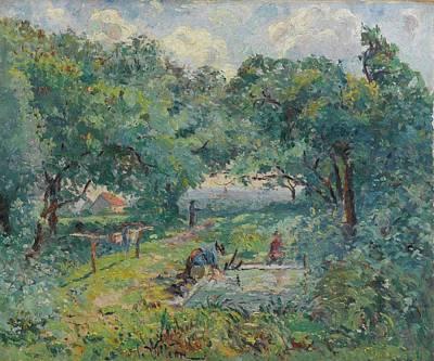 Lavoir Painting - Emmanuel De La Villeon 1858 - 1944 Lavoir Of Gatine by Adam Asar