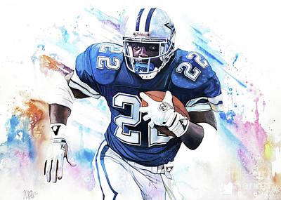 Emmit Smith In Watercolor By Michael Pattison Art Print