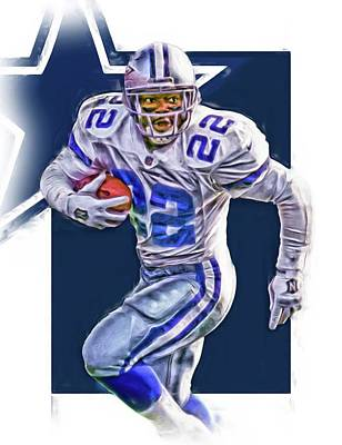 Mixed Media - Emmitt Smith Dallas Cowboys Oil Art by Joe Hamilton