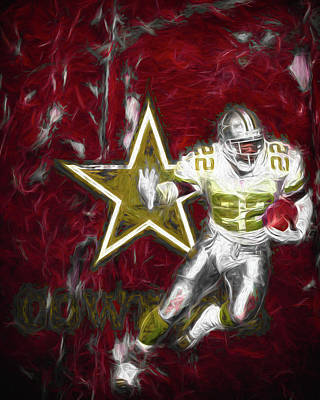 Troy Smith Photograph - Emmitt Smith Nfl Dallas Cowboys Gold Digital Painting 22 by David Haskett