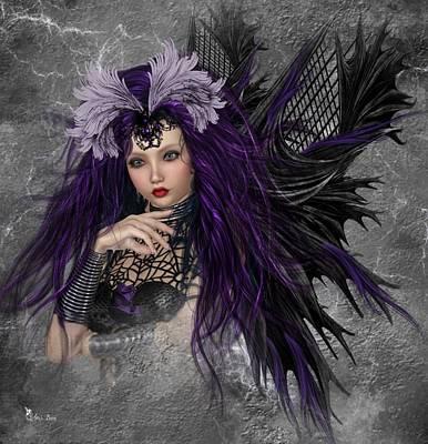 Digital Art - Emmy The Gothic Fairy 2 by Ali Oppy