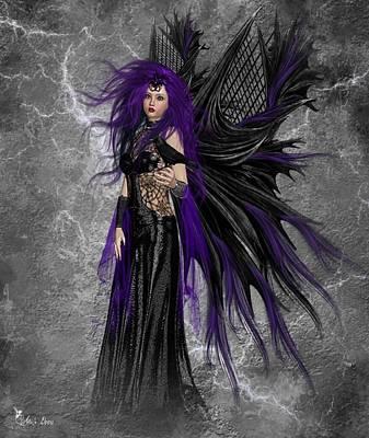 Digital Art - Emmy The Gothic Fairy by Ali Oppy