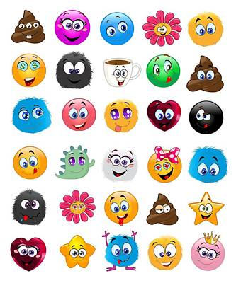 Digital Art - Emoji - Emoticons by Marianna Mills