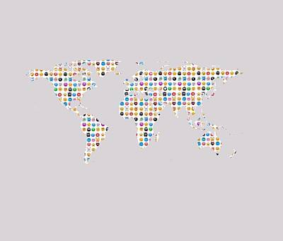 Emoji World Map Art Print by Marianna Mills