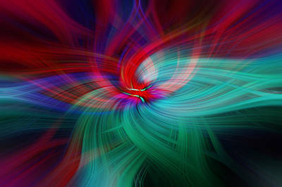 Photograph - Empathy. Scarlet Green Abstract by Jenny Rainbow