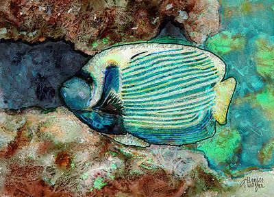 Anglefishes Digital Art - Emperor Angelfish  by Arline Wagner