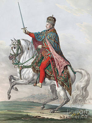 Croatia Painting - Emperor Ferdinand I Of Austria On Horseback by Franz Wolf