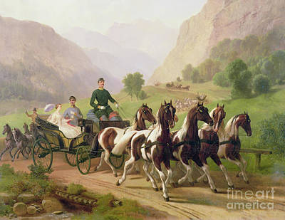 Coach Horses Painting - Emperor Franz Joseph I Of Austria Being Driven In His Carriage With His Wife Elizabeth Of Bavaria I by Austrian School