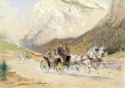 Emperor Franz Joseph I With Crown Prince Rudolf On A Carriage Journey In The Salzkammergut Art Print by Heinrich Gottfried Wilda