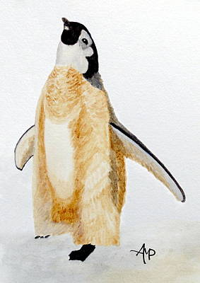 Penguin Painting - Emperor Penguin Chick by Angeles M Pomata