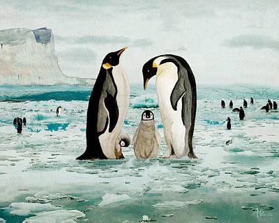 Penguin Painting - Emperor Penguin Family by Angeles M Pomata