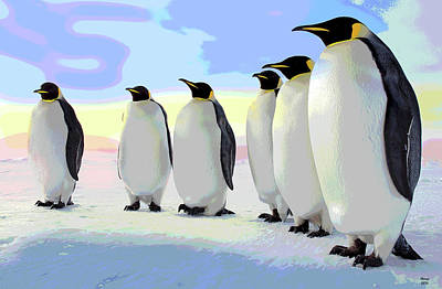 Emperor Mixed Media - Emperor Penguins by Charles Shoup