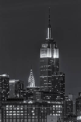 Photograph - Empire State And Chrysler Buildings At Twilight Iv by Clarence Holmes
