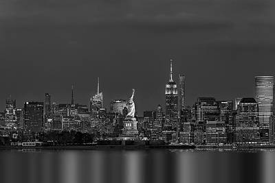 Statue Of Liberty At Night Photograph - Empire State And Statue Of Liberty Bw by Susan Candelario