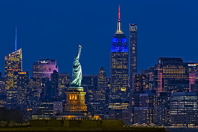 Statue Of Liberty At Night Photograph - Empire State And Statue Of Liberty II by Susan Candelario