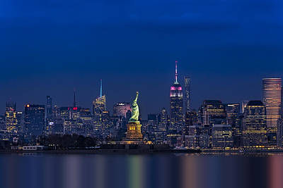 Statue Of Liberty At Night Photograph - Empire State And Statue Of Liberty by Susan Candelario