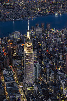 Dusk Photograph - Empire State Building Aerial View by Susan Candelario