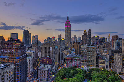 Empire State Building At Sunset Art Print by F. M. Kearney