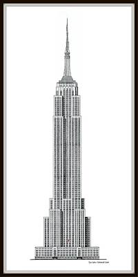 Limited Edition Mixed Media - Limited Edition Empire State Building - Black And White - Museum Matte - With Flag by Gene Nelson