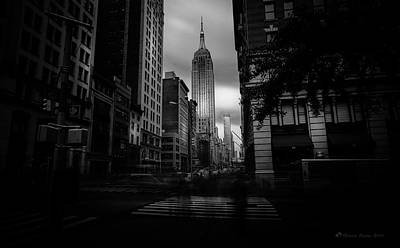 Art Print featuring the photograph Empire State Building Bw by Marvin Spates