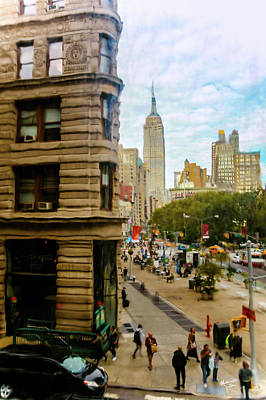 Art Print featuring the photograph Empire State Building - Crackled View by Madeline Ellis