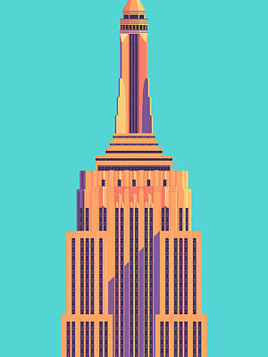 Architecture Digital Art - Empire State Building - Cyan by Ivan Krpan