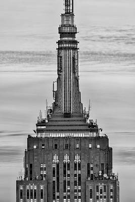 New York City Skyline Photograph - Empire State Building Esb Broadcasting Nyc Bw by Susan Candelario