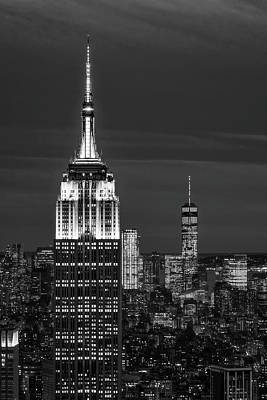 Empire State Building Esb World Trade Center Wtc Nyc Bw Print by Susan Candelario