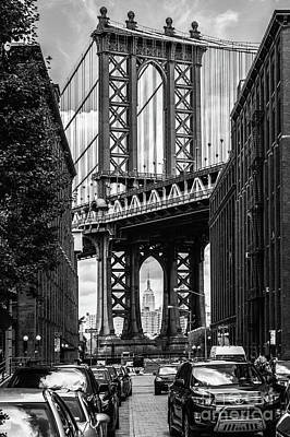 Empire State Building Framed By Manhattan Bridge Art Print