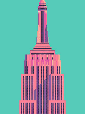 Architecture Digital Art - Empire State Building - Green by Ivan Krpan