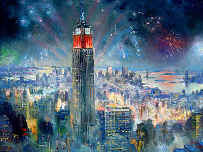 Nj Painting - Empire State Building In 4th Of July by Ylli Haruni