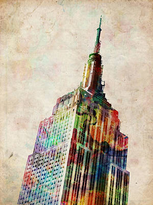 Urban Watercolor Digital Art - Empire State Building by Michael Tompsett