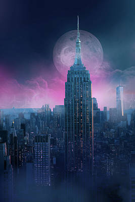 Cities Royalty-Free and Rights-Managed Images - Empire State Building Moonlight by Bekim Art