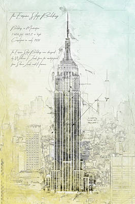 Empire State Building Drawing - Empire State Building, New York by Theodor Decker