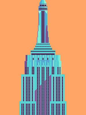 Architecture Digital Art - Empire State Building - Orange by Ivan Krpan