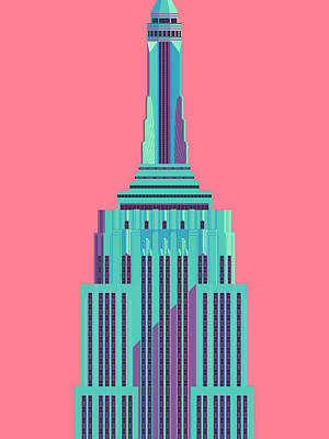 Architecture Digital Art - Empire State Building - Red by Ivan Krpan