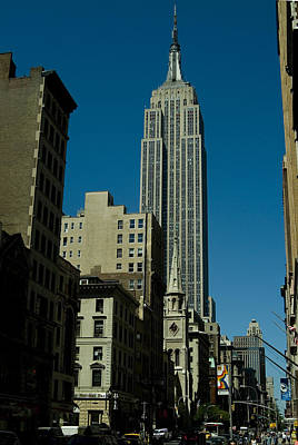 Empire State Building Seen From Street Art Print by Todd Gipstein