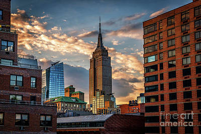 Empire State Building Sunset Rooftop Art Print