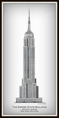 Empire State Building Drawing - Empire State Building - Vignette by Gene Nelson