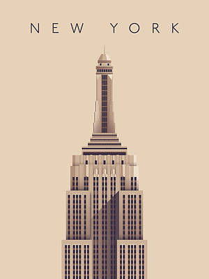 Empire State Digital Art - Empire State Building - Vintage by Ivan Krpan