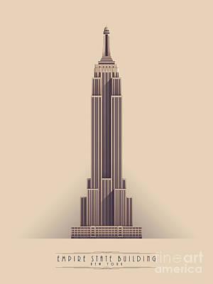 Architecture Digital Art - Empire State Building - Vintage Light by Ivan Krpan